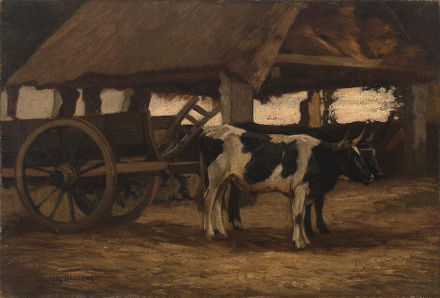 Walter Frederick Osborne RHA, ROI (Irish, 1859-1903) The cattle cart 10 x 14 3/4in (25.4 x 37.5cm)