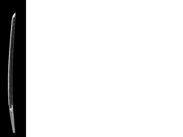 Katana signed Shinkei Tanemitsu Tsukuru, dated Feb 1868. Blade 74.9 cm. W/Separate Koshirae. Sayagaki by Tanobe Michihiro. NTHK Kanteisho Origami and NBTHK Hozon Origami