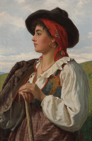 Luigi Bianchi (Italian, 1827-1914) The shepherdess 32 1/2 x 21 1/4in (82.5 x 54cm)