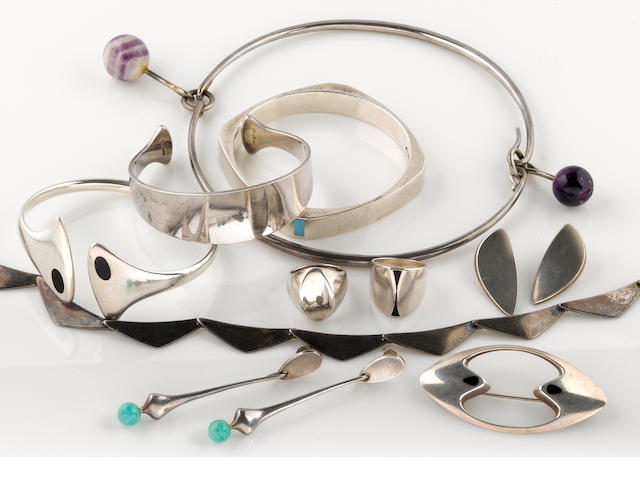 A collection of hardstone and silver jewelry, Hans Hansen, Danish