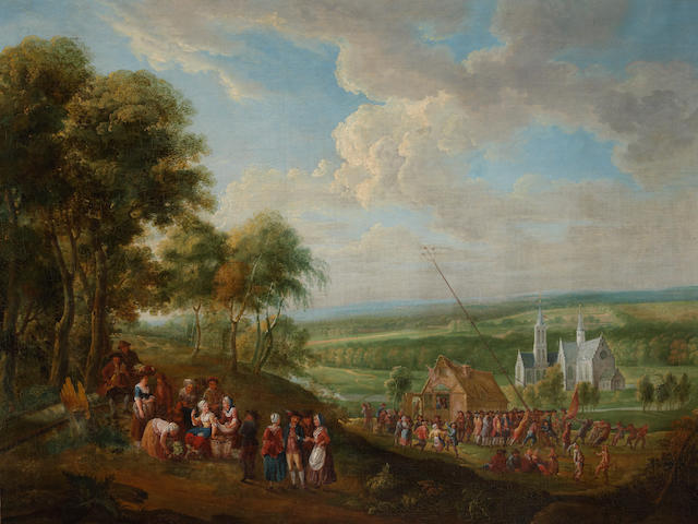 Flemish School, late 18th Century An extensive landscape with village folk gathered around a maypole, a church in the distance 32 1/2 x 43 1/4in (82.5 x 109.8cm)