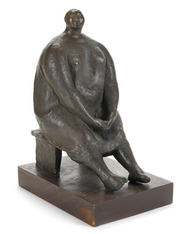 Francisco Zúñiga (1912-1998) Mujer en un banquillo, 1965 15 1/4in. (38.7cm) high including base: 17 1/4in. (43.8cm) high
