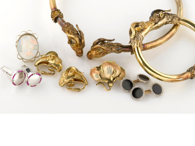 A gilt-silver jewelry suite together with diamond, ruby, carved opal, enamel, platinum-topped and 14k gold jewelry