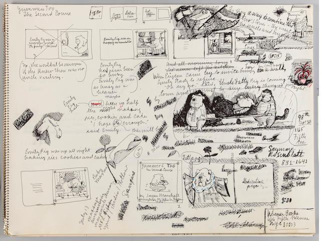 "MARSHALL, JAMES. 1942-1992. Sketchbook for Three Up A Tree (1986), Yummers Too: The Second Course (1986), and the unpublished picture books ""Lolly's Picture Book"" and ""The Hoovers,"""
