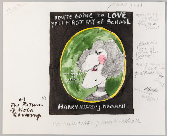 "MARSHALL, JAMES. 1942-1992. Sketchbook for the unpublished Miss Nelson book, ""You're Going to Love Your First Day of School or The Return of Viola Swamp (a. k. a. Miss Nelson's Class Is Missing) by Harry Allard,"" 1982,"