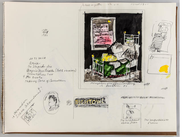 "MARSHALL, JAMES. 1942-1992. Sketchbook for Fox on Wheels (1983) and the unpublished ""Night Owl,"""
