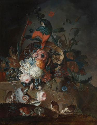 Johann Martin Metz (Bonn 1717-1790 Cologne) A still life with flowers and a parrot perched on a basket, with seashells, mushrooms and two small birds on a rocky ledge below 47 x 36in (119.4 x 91.4cm)