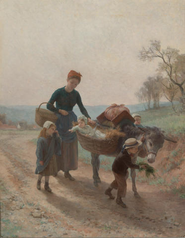 André Henri Dargelas (French, 1828-1903) The long walk home 36 1/4 x 28 1/2in (92 x 72.4cm)