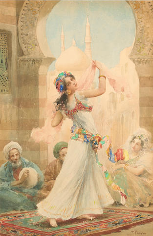 Fabio Fabbi (Italian, 1861-1946) A dancing beauty 17 3/4 x 11 3/4in (45.2 x 29.8cm)