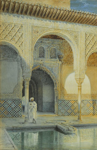 Henry Stanier (British, ?-1892) A figure by a pool at the Alhambra 21 x 14in (53.3 x 35.6cm)