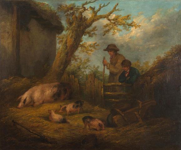 George Morland (British, 1763-1804) A rustic landscape 25 x 30in (63.5 x 76.2cm)