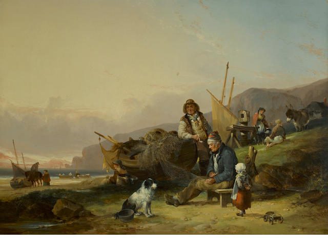 William Shayer, Snr. (British, 1787-1879) Mending the nets 28 x 39 1/4in (71.1 x 99.6cm)