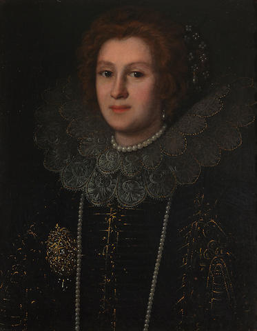 Studio of Justus Sustermans (Antwerp 1597-1681 Florence) A portrait of a lady, thought to be Archduchess Eleanor of Austria 25 3/4 x 20in