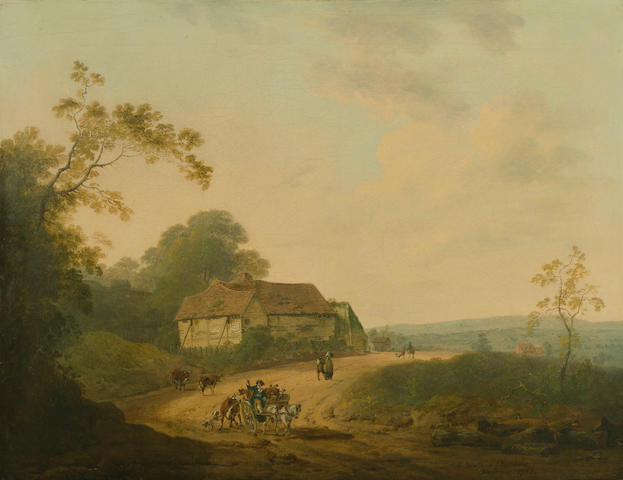 Julius Caesar Ibbetson (Fulneck 1759-1817 Masham), and John Rathbone (British, 1750-1807) An extensive landscape with travellers on a road 20 1/2 x 26 1/2in (52.1 x 67.3cm)