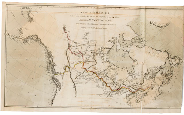 MACKENZIE, ALEXANDER. 1764-1820. Voyages from Montreal, on the River St. Laurence, through the Continent of North America, to the Frozen and Pacific Oceans; In the Years 1789 and 1793. London: T. Cadell, et al, 1801.<BR />