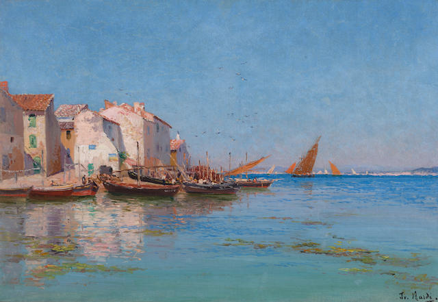 François Nardi (French, 1861-1936) Fishing boats docked by a coastal village 15 x 21 3/4in (38.1 x 55.3cm)