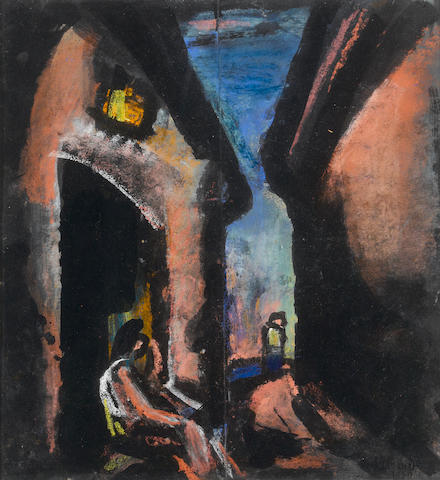 """Georges Rouault (1871-1958) """"Tu seras sur les marches de la porte noire aussi solitaire qu'au désert, pauvre artiste..."""" 14 x 13 1/8in. (35.5 x 33.2cm)"""