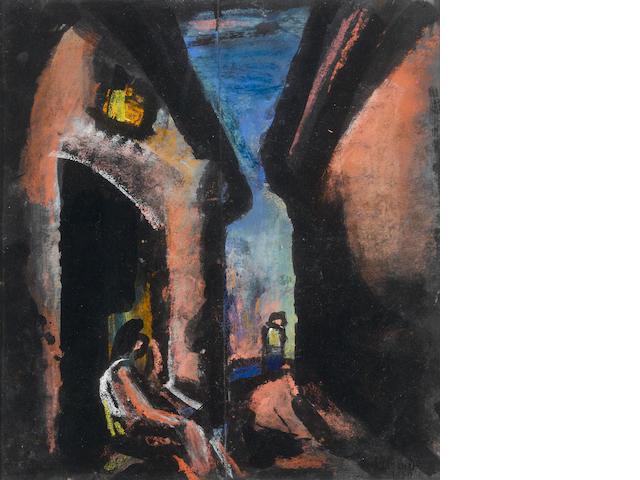 """Georges Rouault (French, 1871-1958) """"Tu seras sur les marches de la porte noire aussi solitaire qu'au désert, pauvre artiste...""""  14 x 13 1/8in. (35.5 x 33.2cm)"""