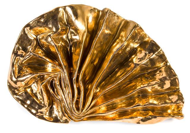 Lynda Benglis (born 1941) Gold Lustre Fan 18 x 26 x 5 1/4in. (45.72 x 66 x 13.3cm)