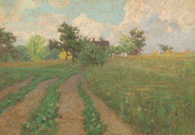 Leon Augustin L'hermitte (French, 1844-1925) A landscape with farmhouses 13 3/4 x 20in (35 x 50.8cm)