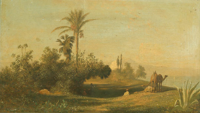 Charles Théodore Frère (Frère Bey) (French, 1814-1888) L'Oasis; Caravane traversant un desert (a pair) 8 3/4 x 14 3/4in (47.6 x 37.5cm)