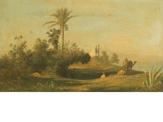 Charles Théodore Frère (Frère Bey) (French, 1814-1888) L'Oasis; Caravane traversant un desert (a pair) 8 3/4 x 14 3/4in (47.6 x 37.5cm)