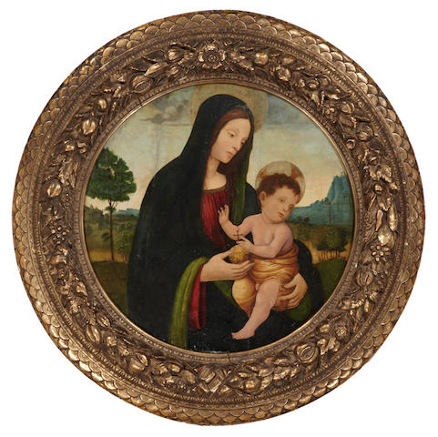 Follower of Francesco Botticini (Italian, 1446-1497) The Madonna and Child in a landscape diameter, 33in (83.8cm)