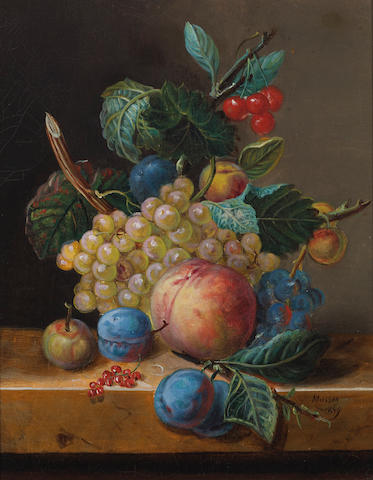 Masson, 19th Century A still life with plums, grapes, cherries and other fruit resting on a ledge 16 x 12 3/4in (40.6 x 32.4cm)