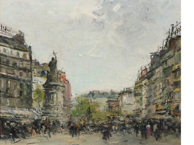 Pierre Jacques Pelletier (French, 1869-1931) A busy Paris street 13 x 16 1/4in (33 x 41.3cm)