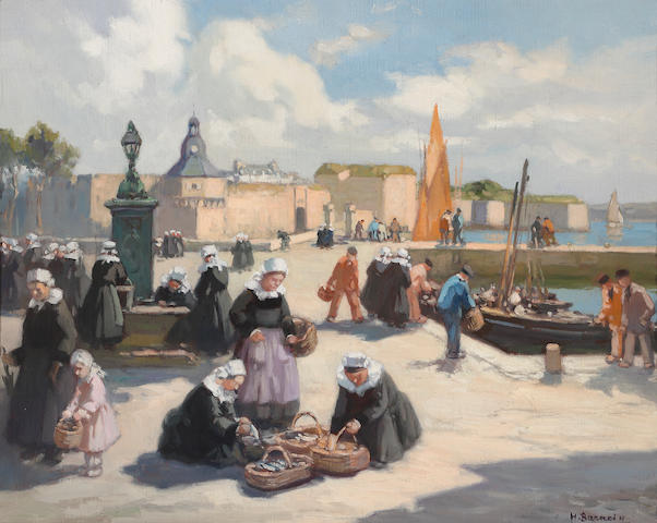 Henri Alphonse Barnoin  (French, 1882-1935) A busy quay in Brittany 13 x 16in (33 x 40.6cm)