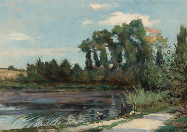 Maurice Grun (French, 1869-1947) A river landscape with a washerwoman on the bank 12 3/4 x 18 1/4in (32.4 x 46.3cm)