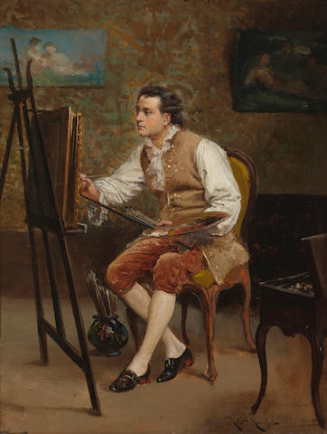 Ludovic (Louis Hippolyte) Mouchot (French, 1846-1893) The artist in his studio 13 3/4 x 10 1/2in