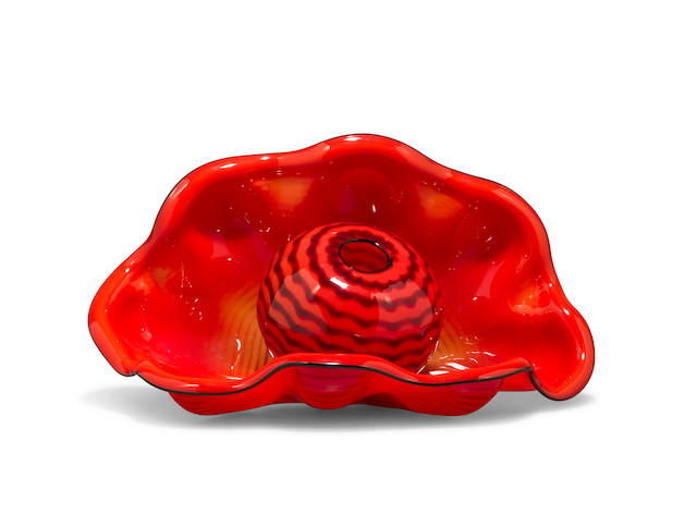 Dale Chihuly (American, born 1941) Two-Piece Seaform, produced for Portland Press, 1995 blown glass small element inscribed Chihuly PP 95 height of large element 5 1/2in (14cm); width 10 1/2in (26.7cm); depth 5 3/4in (14.7cm)