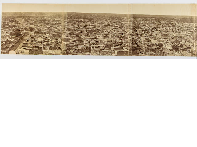 [BEATO, FELICE. 1832-1909.] Panorama of Delhi taken from the Jamma Masjid,
