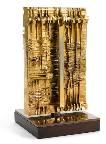 Arnaldo Pomodoro (born 1926) Untitled 11 x 5 11/16 x 5 11/16in. (28 x 14.5 x 14.5cm)