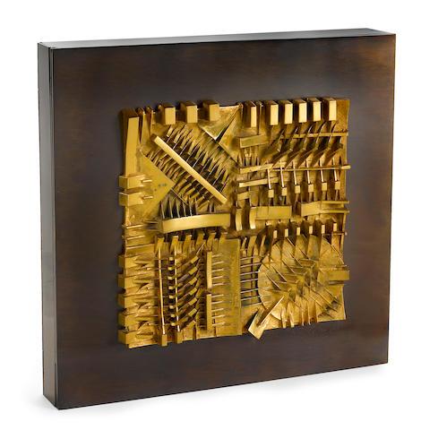 Arnaldo Pomodoro (born 1926) Untitled, 1983 12 3/8 x 12 3/8 x 1 3/4in. (31.4 x 31.4 x 4.4cm)