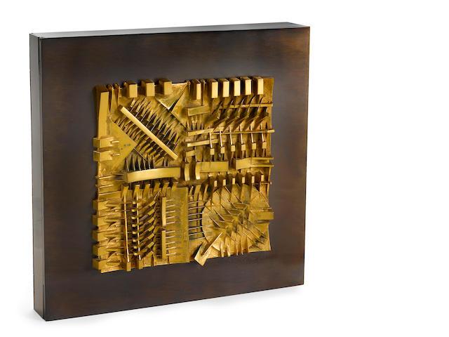 Arnaldo Pomodoro (Italian, born 1926) Untitled, 1983 12 1/2 x 12 1/2 x 1 11/16in. (31.7 x 31.7 x 4.3cm)