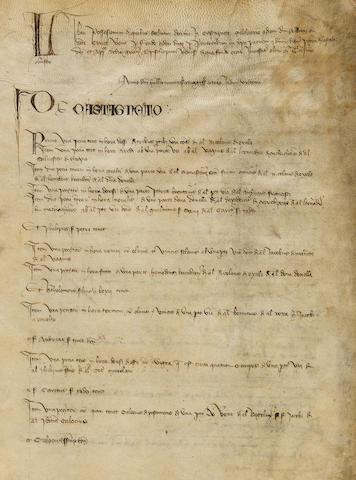 """LIBER POSSESSIONUM. Latin manuscript on vellum, incipit """"Liber possessionum quibus solitur decima in Castagneto"""