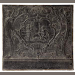 A large Louis XV cast iron fireback<BR />third quarter 18th century