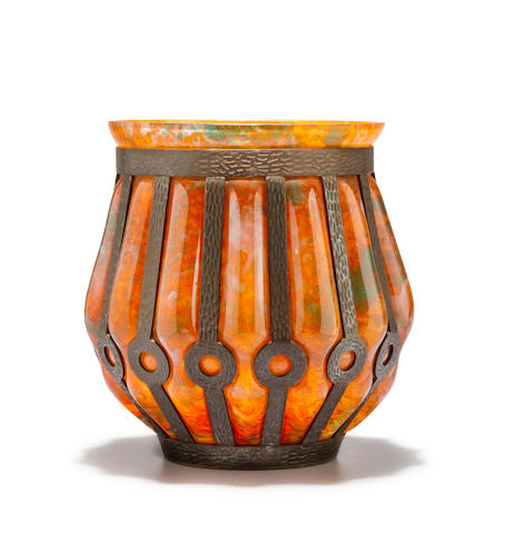 A Majorelle and Daum Nancy wrought-iron mounted internally decorated glass vase circa 1925
