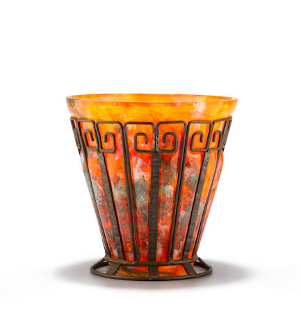 A wrought-iron and internally decorated glass vase French, circa 1925