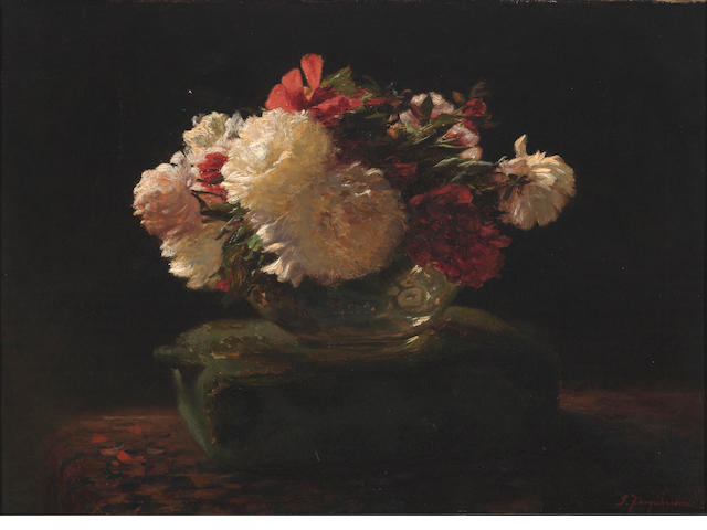 Joseph Farquharson, RA (British, 1846-1935) Peony roses 19 1/2 x 27 1/4in (49.5 x 69.2cm)