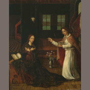Flemish School, circa 1600 The Annunciation 14 3/4 x 11 3/4in (37.5 x 29.8cm)