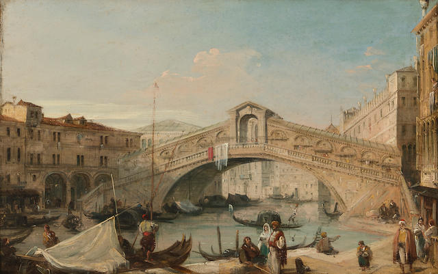 Edward Pritchett (British, 1828-1864) The entrance to the Grand Canal with the Church of Santa Maria della Salute, Venice; A view of the Rialto Bridge, Venice (a pair) 10 1/2 x 16 1/2in (26.7 x 41.9cm)