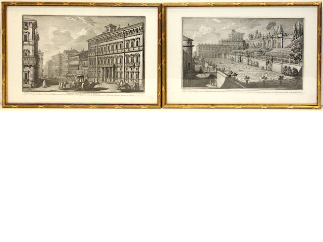 Two sets of four Italian architectural engravings after Giovanni Battista Piranesi (1720-1778) and Giuseppe Vasi (1710-1782)