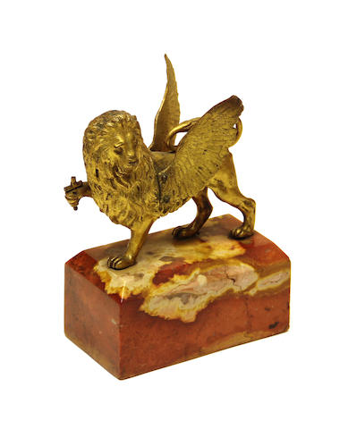 An Italian gilt bronze lion of St. Mark on terracotta and yellow variegated marble plinth 19th century
