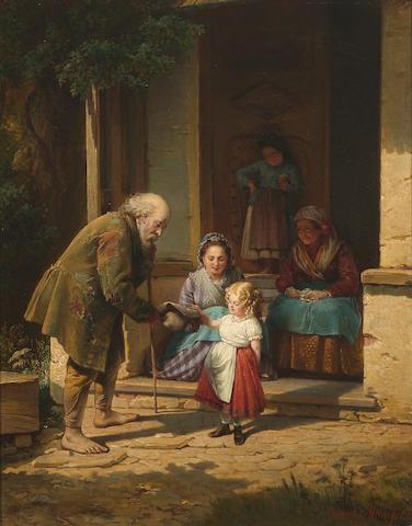 Heinrich August Mansfeld (Austrian, 1816-1901) Charity 19 3/4 x 15 1/2in (50.3 x 39.3cm)