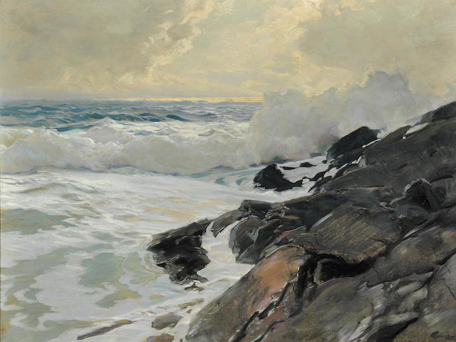 Frederick Judd Waugh (American, 1861-1940) Along the Coast 30 x 40in (76.2 x 101.6cm)