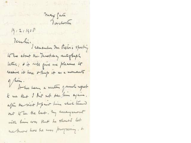 "HARDY, THOMAS. 1840-1928. HARDY REMINISCES ON MEETING THACKERAY AND PROCURES AN AUTOGRAPH LETTER.<BR /> Autograph Letter Signed (""T. Hardy""), 2 pp recto and verso, 8vo, Max Gate, Dorchester, February 19, 1908,"