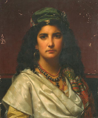 Jan Portielje (Dutch, 1829-1908) A portrait of a gypsy girl